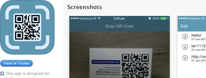 iOS App – QR Code Scanner & Generator